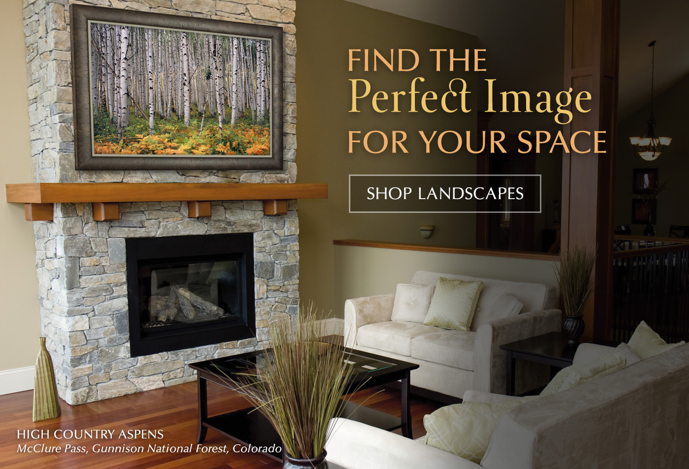 Framed High Country Aspens hanging over a fireplace in a great room.