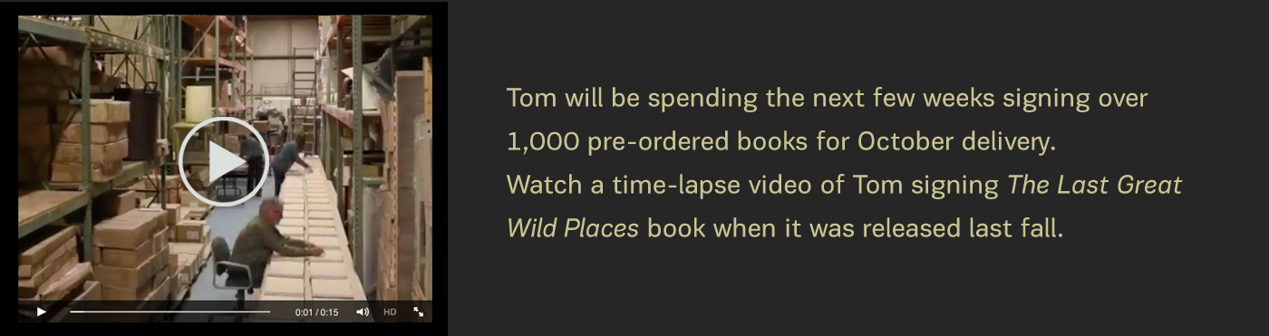 Watch time lapse video of Tom signing books.