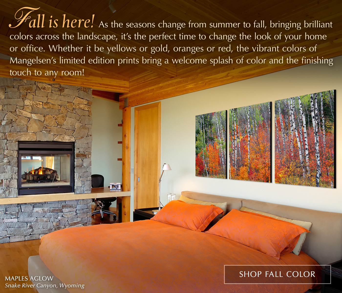 Showing a wrapped canvas triptych of Maples Aglow over a bed in a master suite.