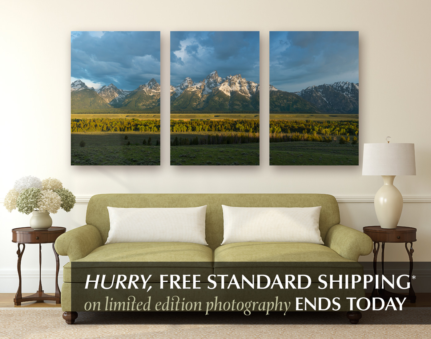 Limited edition photograph titled Teton Morning. Display option shown: Wrapped Canvas
