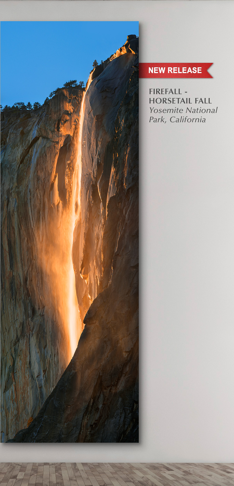 New Release photograph titled FireFall. Display option shown: Metal Print