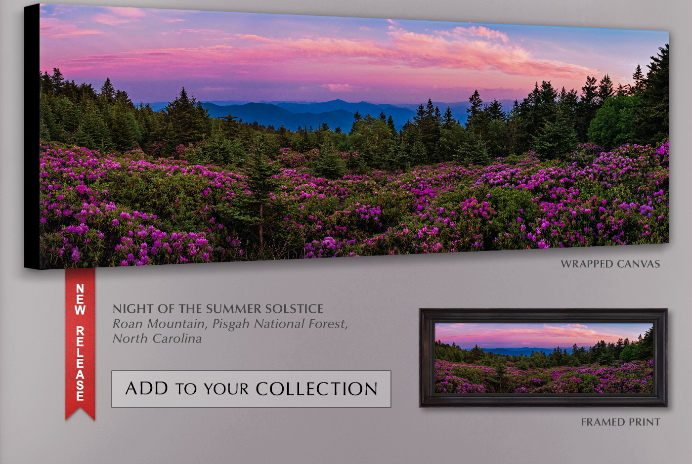 A new release titled Night of the Summer Solstice, shown as a wrapped canvas and framed print