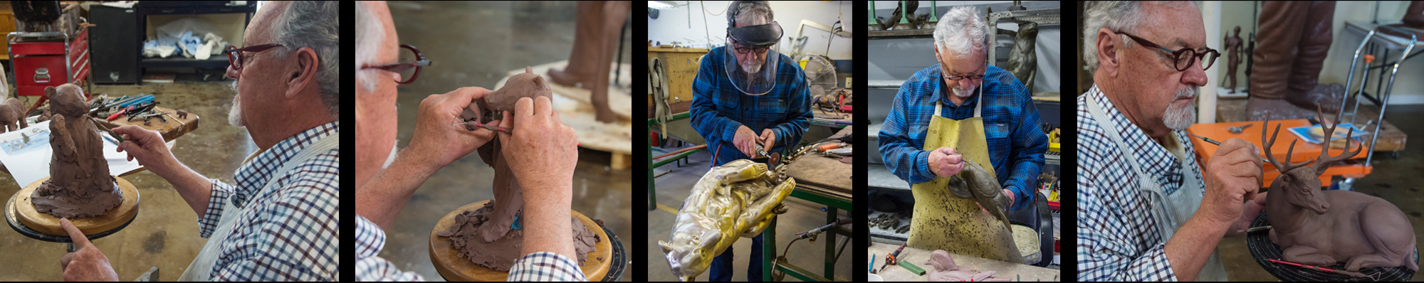 Pictures of Thomas D. Mangelsen sculpting in clay