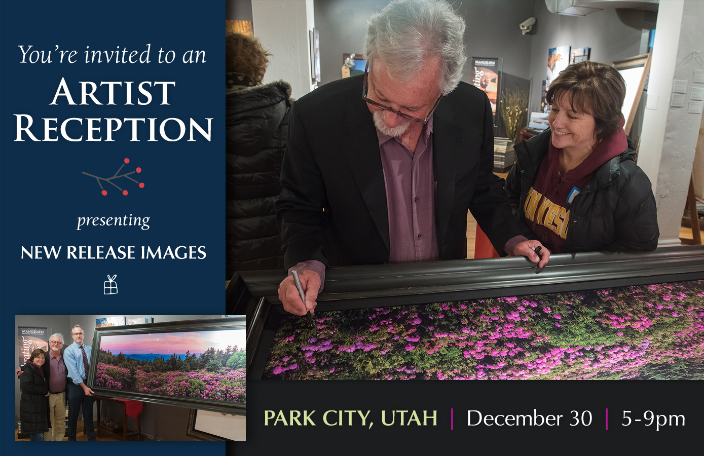 Join us for a holiday reception in Park City. Tom will