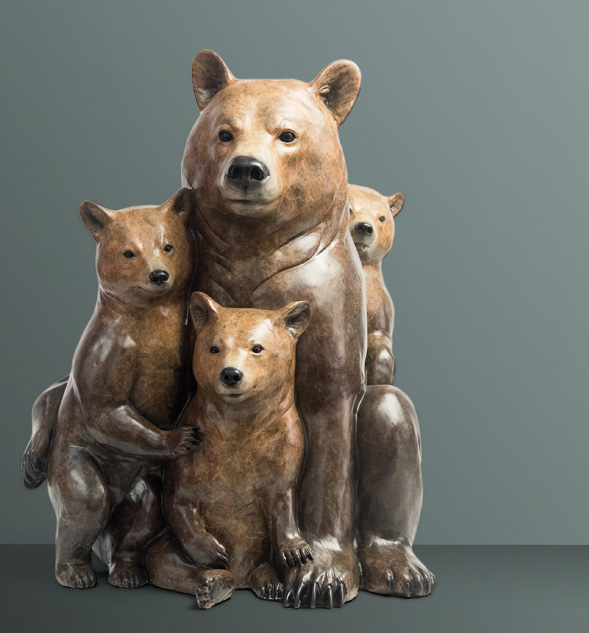 Bronze Sculpture titled Mother's Love - Grizzly 399