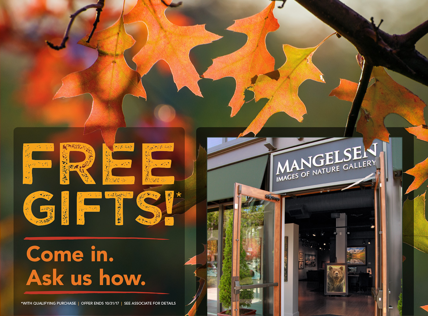 Visit a Mangeslen Images of Nature Gallery and ask an associate about more special offers, available only in our galleries.