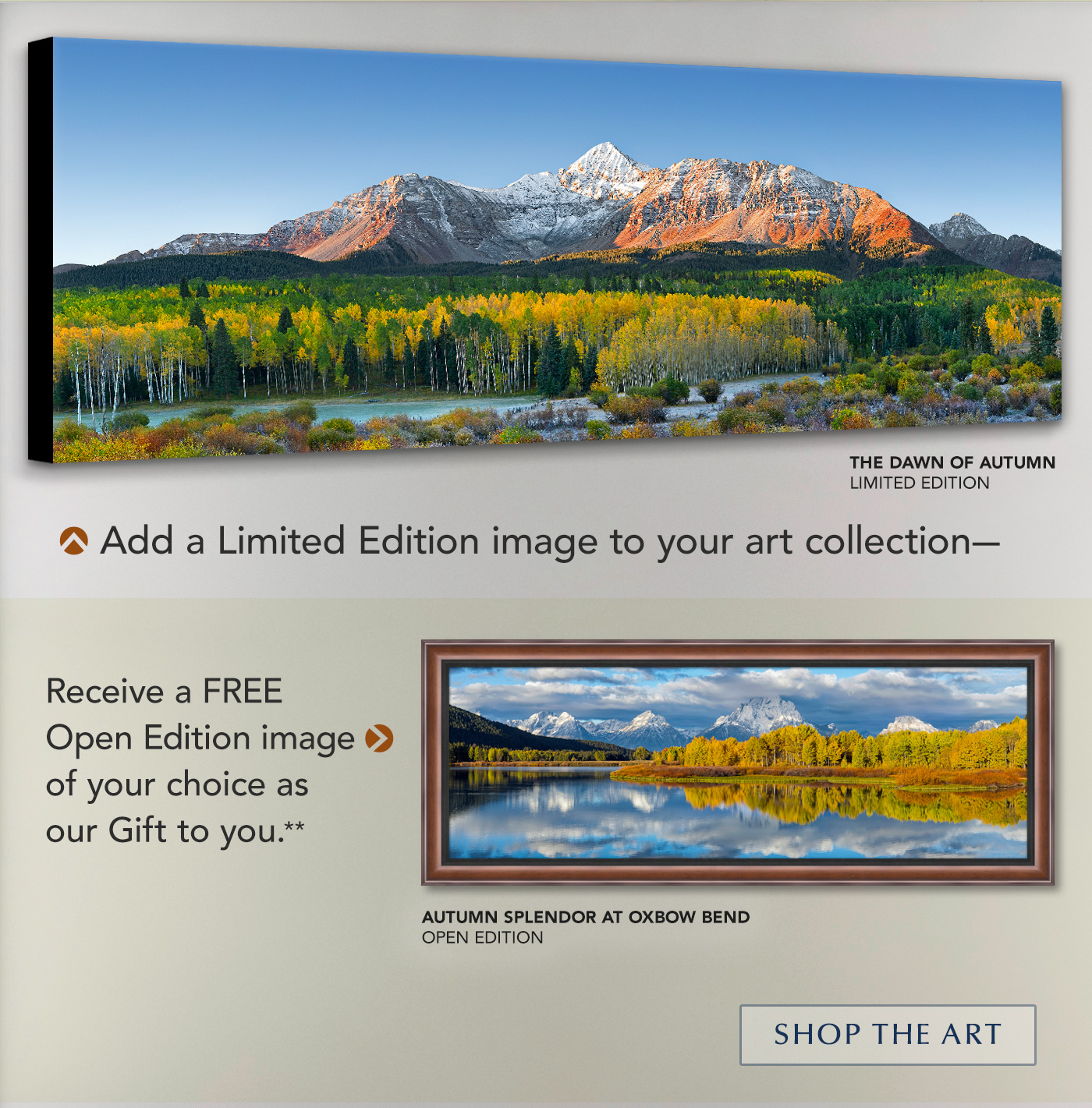 Add a Limited Edition image to your art collection and get a free Open Edition as our gift to you.